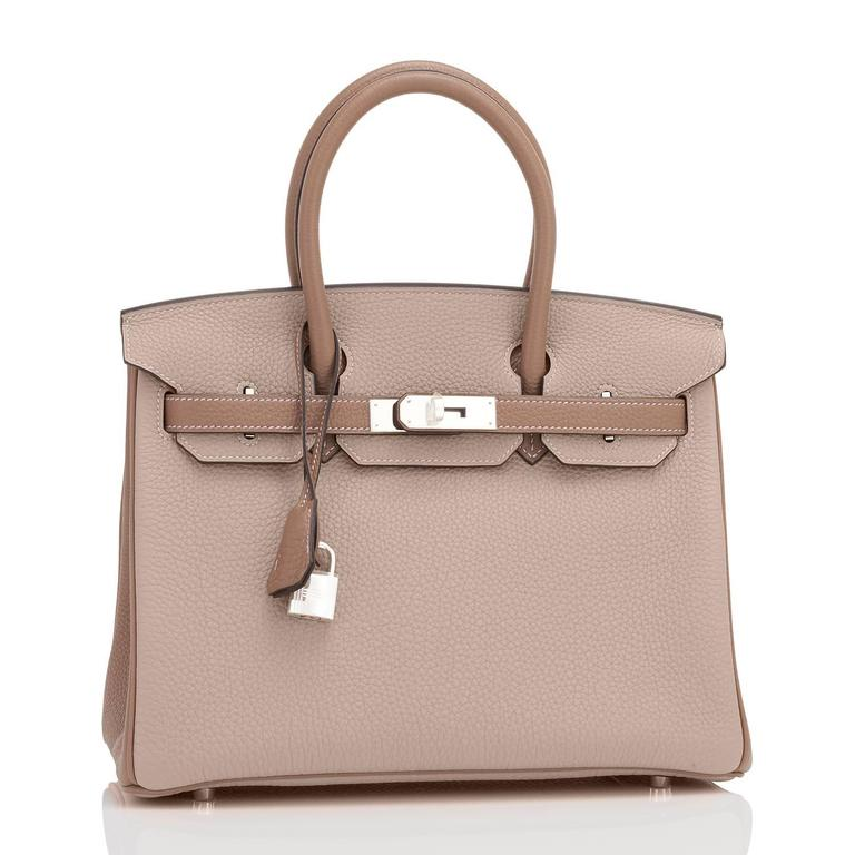Hermes HSS Gris Tourterelle and Etoupe 30cm Birkin Palladium Hardware Exclusive In New Never_worn Condition For Sale In New York, NY
