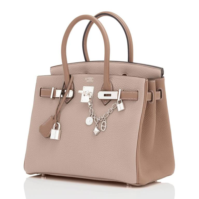 Hermes HSS Gris Tourterelle and Etoupe 30cm Birkin Palladium World Exclusive New or Never Worn.  Pristine Condition (with plastic on hardware)  Perfect gift! Comes in full set with clochette, lock, keys, raincoat, dust bag, Hermes box and