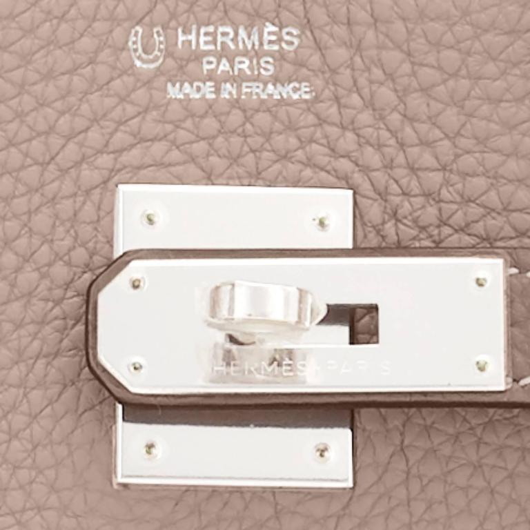 Hermes HSS Gris Tourterelle and Etoupe 30cm Birkin Palladium Hardware Exclusive For Sale 5