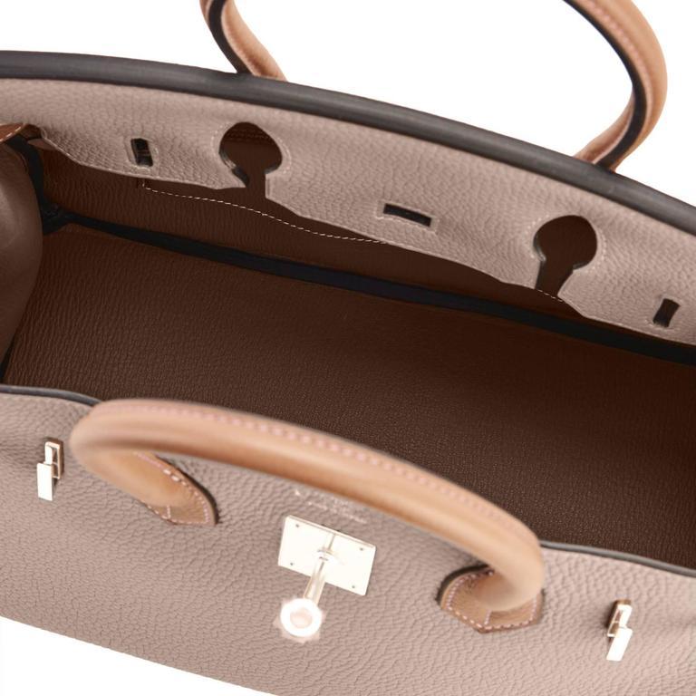 Hermes HSS Gris Tourterelle and Etoupe 30cm Birkin Palladium Hardware Exclusive For Sale 4