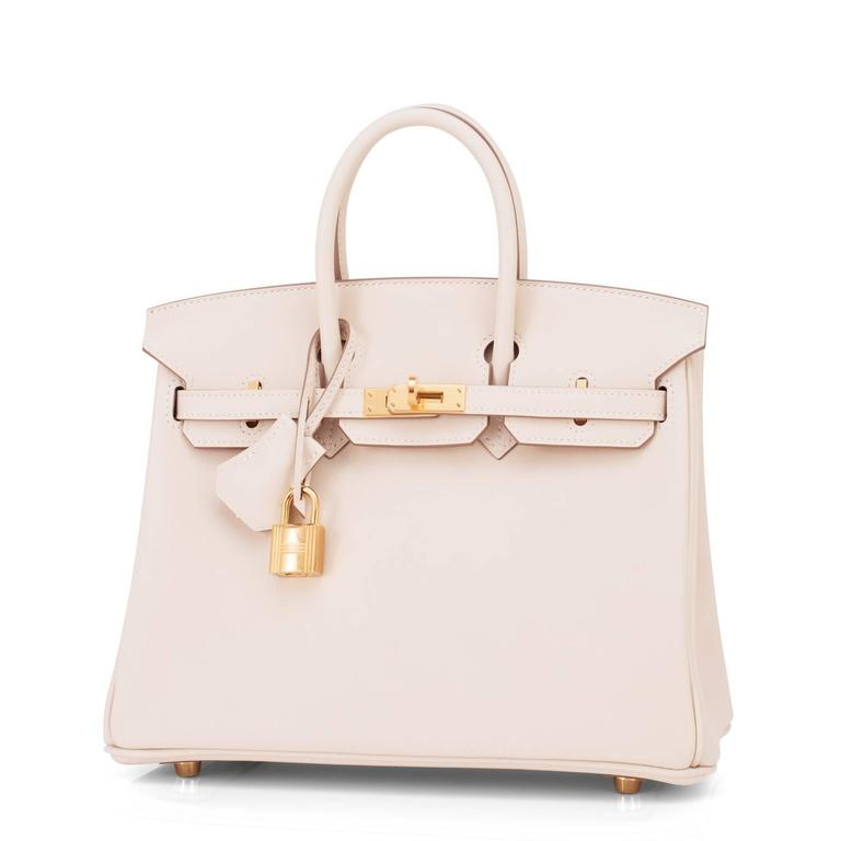 Hermes Craie Baby Birkin 25cm Bag Off White Chalk Swift Gold Hardware 4