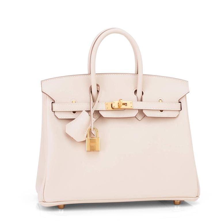 Hermes Craie Baby Birkin 25cm Bag Off White Chalk Swift Gold Hardware 2