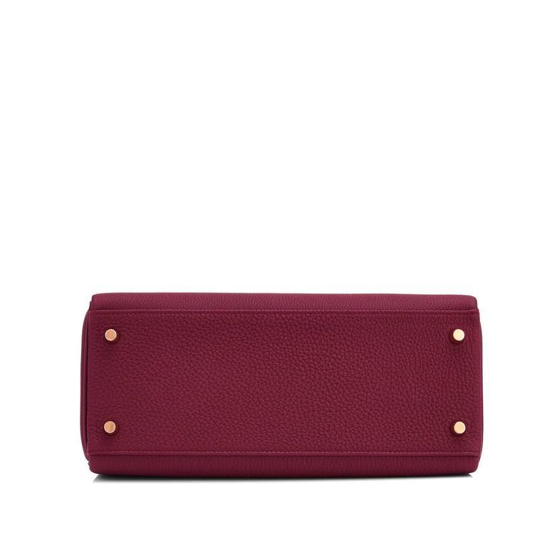 Hermes Bordeaux 28cm Kelly Togo Gold Hardware Red Exquisite  7
