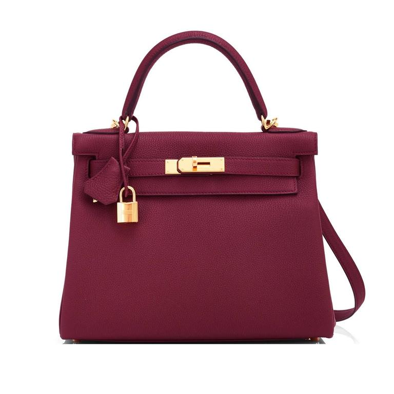 Brown Hermes Bordeaux 28cm Kelly Togo Gold Hardware Red Exquisite For Sale 8e468bc3b0