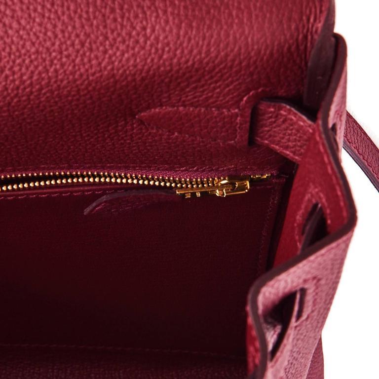 Hermes Bordeaux 28cm Kelly Togo Gold Hardware Red Exquisite  9