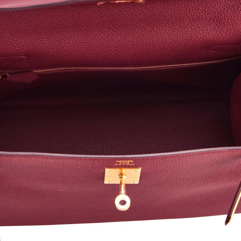 Hermes Bordeaux 28cm Kelly Togo Gold Hardware Red Exquisite  8