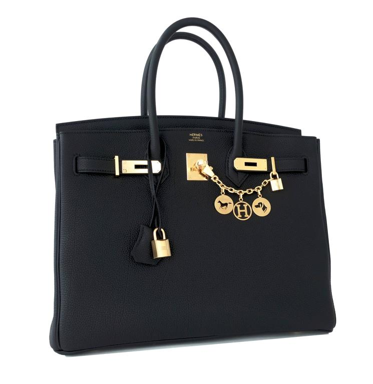 Celeb Fave Hermes Black Togo 35cm Birkin Gold Hardware GHW Power Birkin  In New never worn Condition For Sale In New York, NY