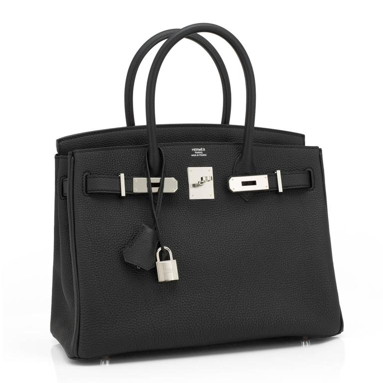 Hermes Black Togo 30cm Birkin Palladium Hardware Leather Bag  Brand New in Box. Store fresh. Pristine condition (with plastic on hardware) Perfect gift!  Comes with keys, lock, clochette, a sleeper for the bag, rain protector, and Hermes box.  A