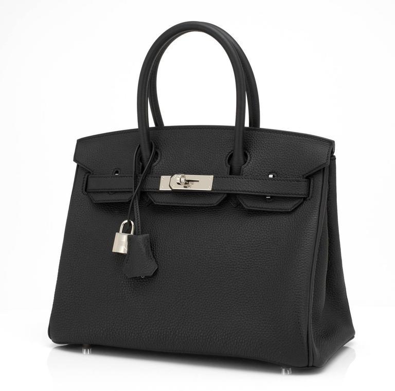 Women's or Men's Hermes Black 30cm Birkin Togo Palladium Hardware Bag