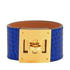 Hermes Blue Electric Shiny Alligator Kelly Dog Gold Hardware Summer