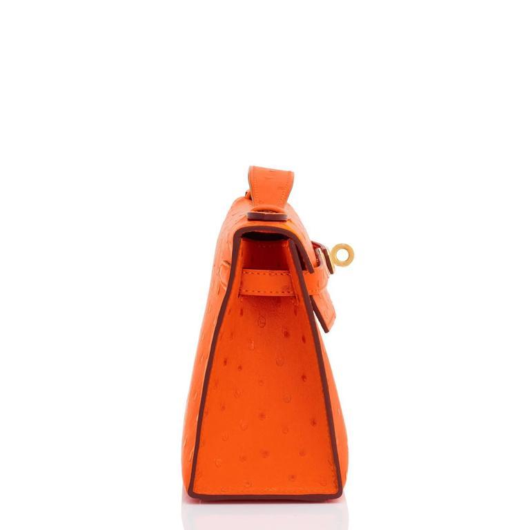 Hermes Tangerine Ostrich Mini Orange Gold Hardware Kelly Pochette   For Sale 1