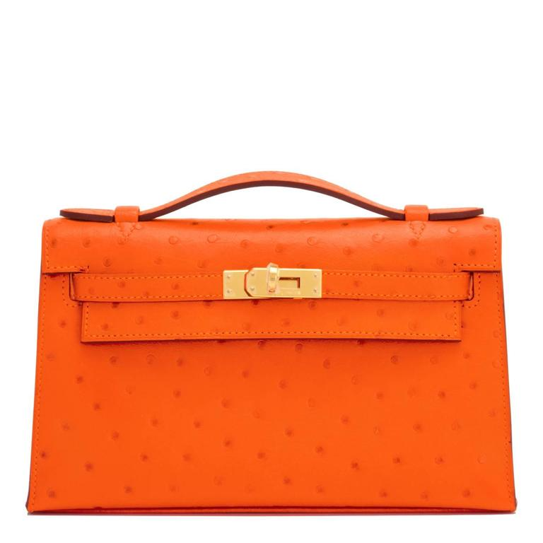 Hermes Tangerine Ostrich Mini Orange Gold Hardware Kelly Pochette