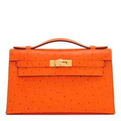 Hermes Tangerine Ostrich Mini Orange Kelly Pochette Gold Hardware