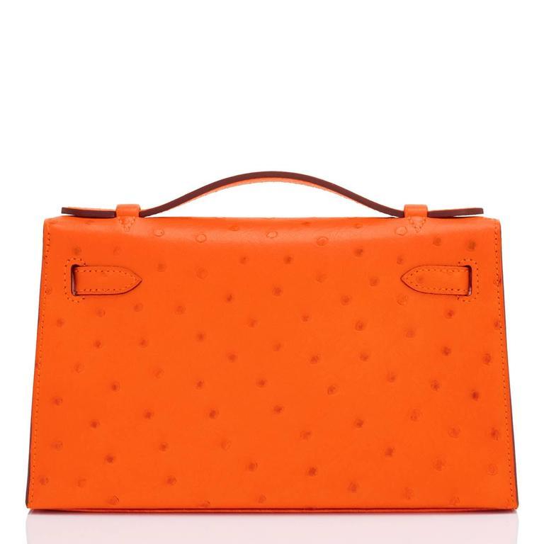 Red Hermes Tangerine Ostrich Mini Orange Gold Hardware Kelly Pochette   For Sale