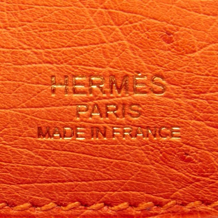 e5d5b861c322 Hermes Tangerine Ostrich Mini Orange Gold Hardware Kelly Pochette For Sale 3