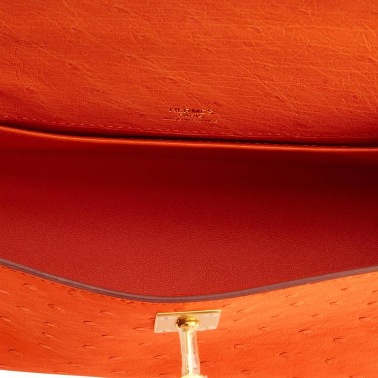 Hermes Tangerine Ostrich Mini Orange Gold Hardware Kelly Pochette   For Sale 2