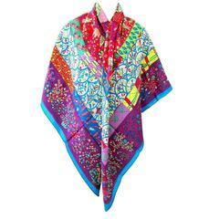 Hermes Pique Fleuri de Provence Canard Violet Framboise Cashmere Silk Shawl