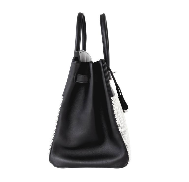 Hermes Black Swift Leather Criss Cross Ecru Graphite Toile 35cm Birkin VIP For Sale 3