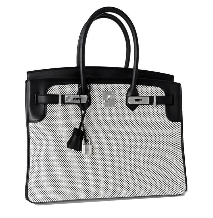 Women's or Men's Hermes Black Swift Leather Criss Cross Ecru Graphite Toile 35cm Birkin VIP For Sale
