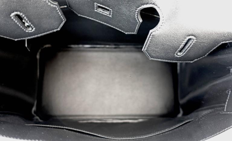 Hermes Black Swift Leather Criss Cross Ecru Graphite Toile 35cm Birkin VIP For Sale 4