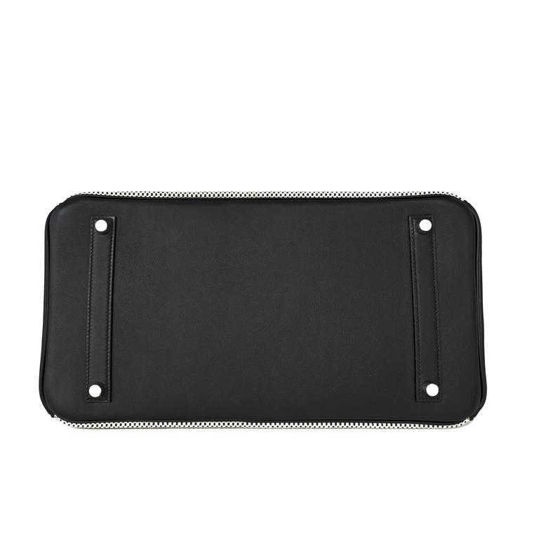 Hermes Black Swift Leather Criss Cross Ecru Graphite Toile 35cm Birkin VIP For Sale 2