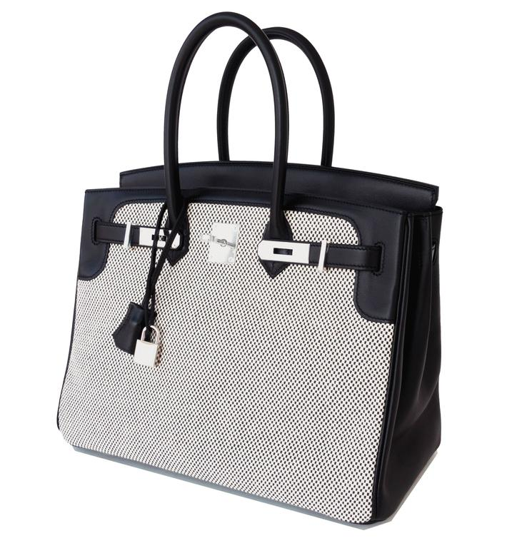 Hermes Black Swift Leather Criss Cross Ecru Graphite Toile 35cm Birkin  Brand New in Box. Store fresh.  Pristine condition (with plastic on hardware).  Perfect gift! Comes full set with keys, lock, clochette, a sleeper for the bag, rain protector,
