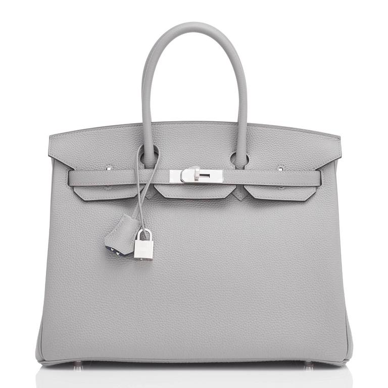 "Hermes Gris Mouette ""Verso"" 35cm Togo Birkin Blue Agate Limited Edition  4"