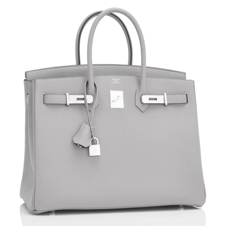 "Hermes Gris Mouette ""Verso"" 35cm Togo Birkin Blue Agate Limited Edition  3"