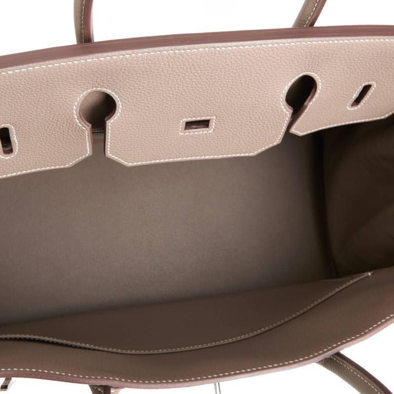 Hermes Etoupe 40cm Birkin Bag Togo Palladium Hardware Sporty Chic 9