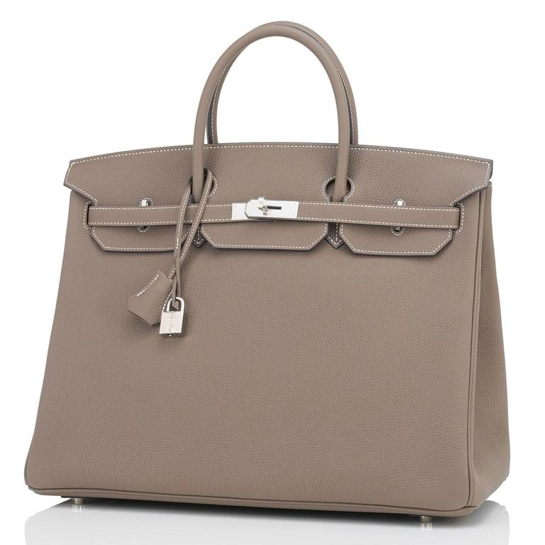 Hermes Etoupe 40cm Birkin Bag Togo Palladium Hardware Sporty Chic 5