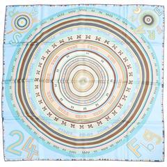 Hermes Tohu Bohu Blue Taupe Silk Scarf 90cm Carre