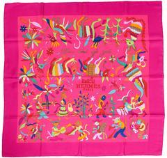HERMES Din Tini Ya Zue Fuchsia Pink Silk Scarf Carre 90cm