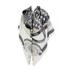 Hermes Brandebourgs Black White Cashmere Silk Shawl Scarf GM Grail