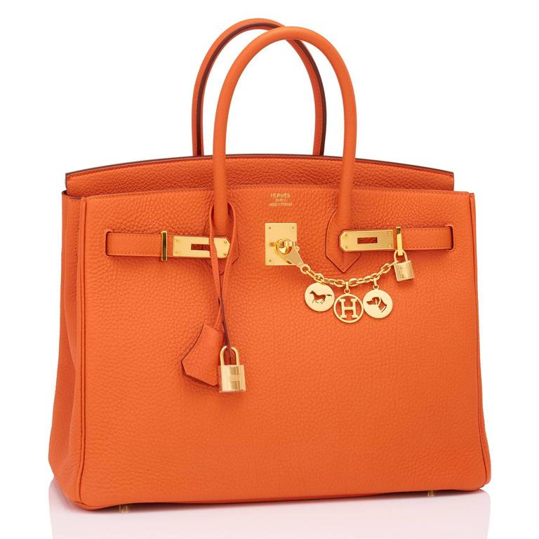 Hermes Classic Orange 35cm Birkin Bag Gold Hardware Rare In New Condition For