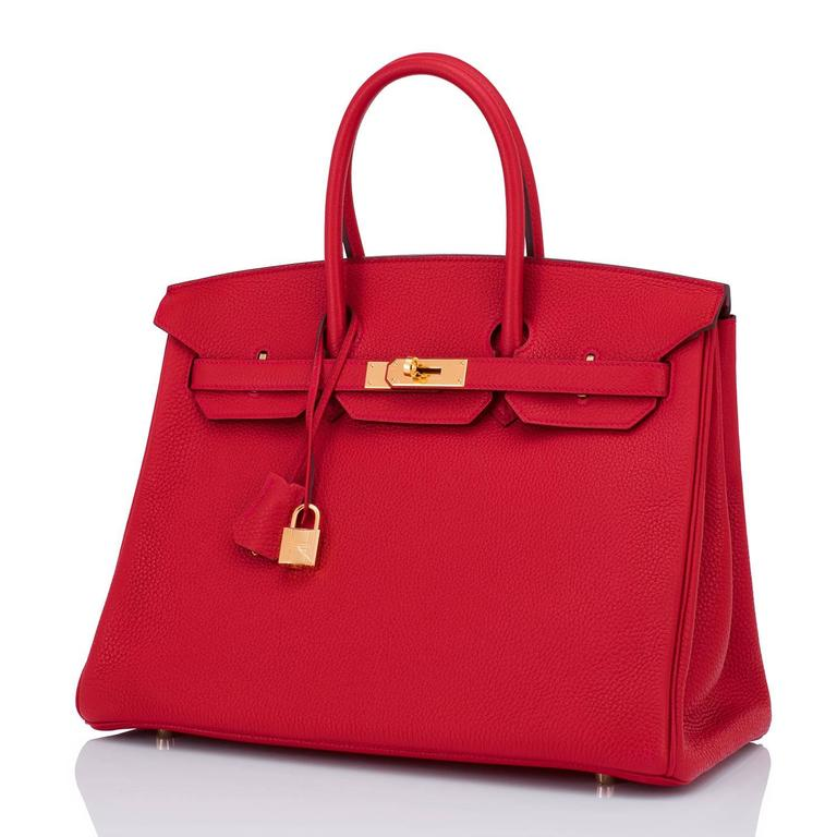 Hermes Rouge Casaque 35cm Clemence Red Birkin Bag Gold Hardware 4