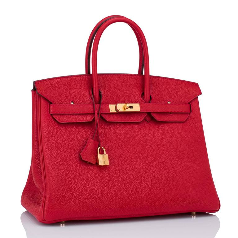 Hermes Rouge Casaque 35cm Clemence Red Birkin Bag Gold Hardware 2