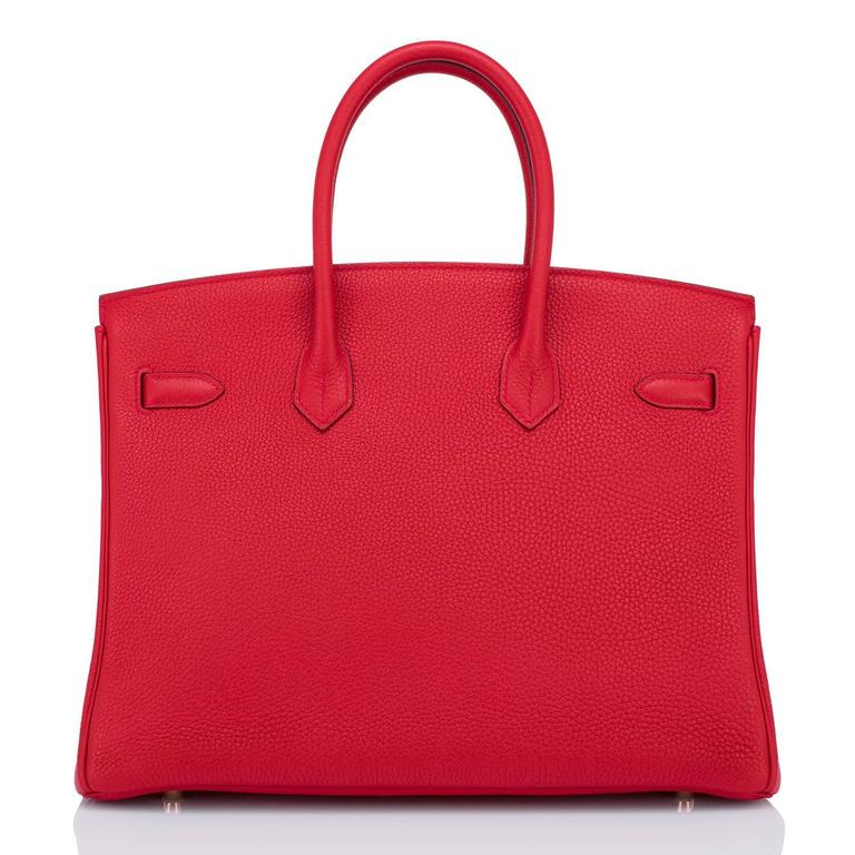 Hermes Rouge Casaque 35cm Clemence Red Birkin Bag Gold Hardware 3