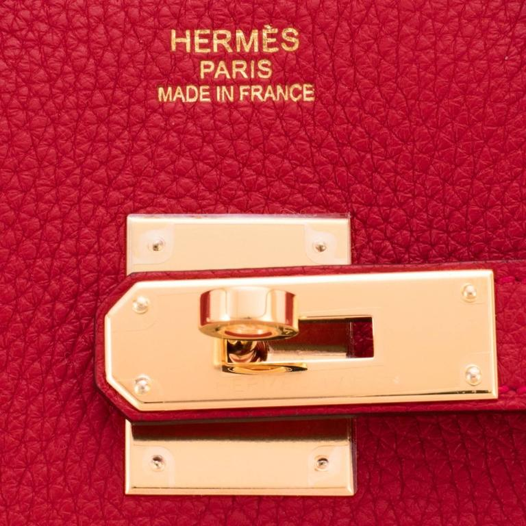 Hermes Rouge Casaque 35cm Clemence Red Birkin Bag Gold Hardware 9