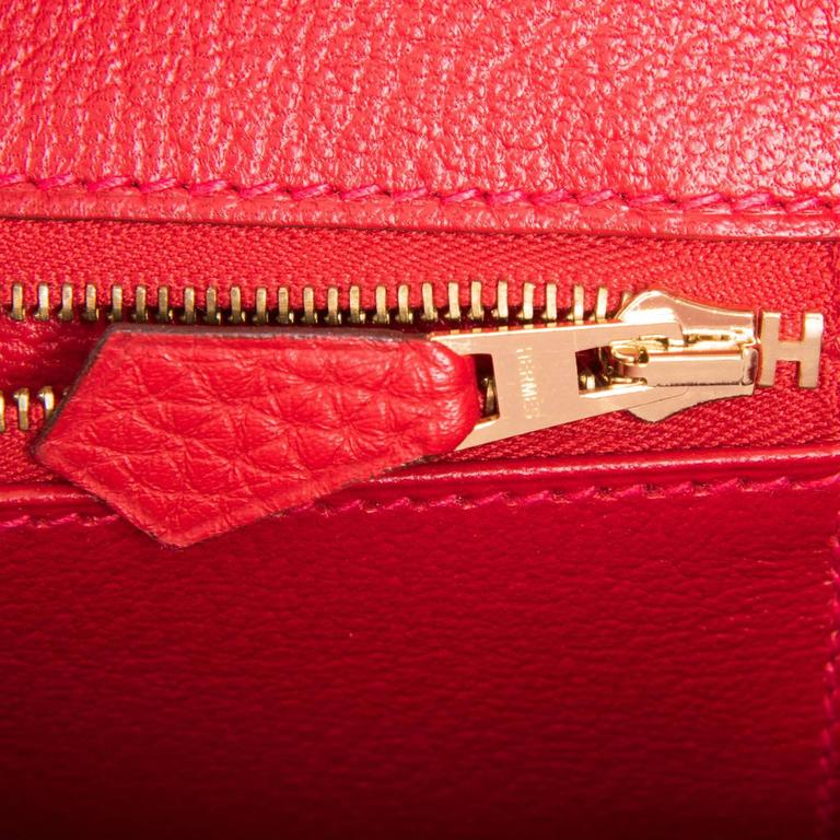 Hermes Rouge Casaque 35cm Clemence Red Birkin Bag Gold Hardware 8