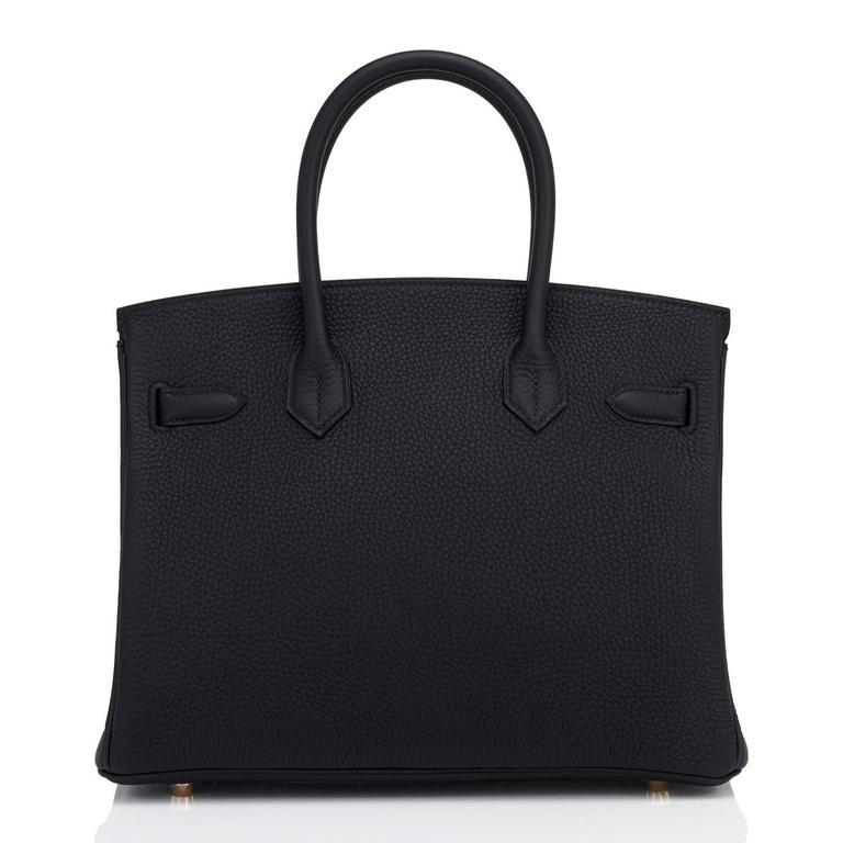 Hermes Black 30cm Birkin Bag Togo Gold Hardware Chic  For Sale 1
