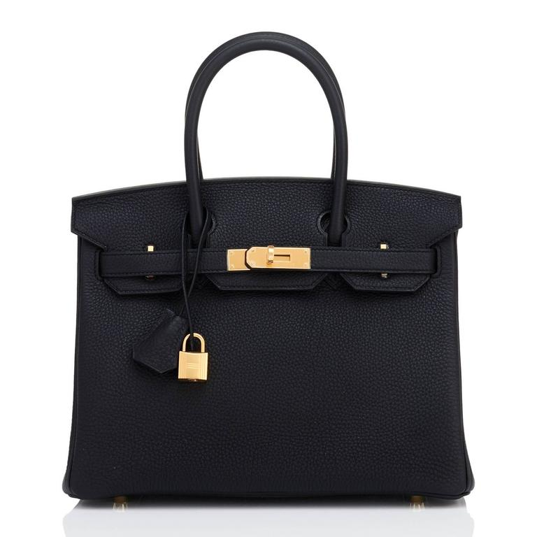 Hermes Black 30cm Birkin Bag Togo Gold Hardware Chic  In New never worn Condition For Sale In New York, NY