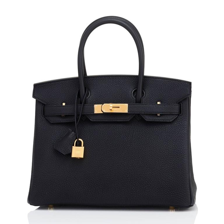 Hermes Black 30cm Birkin Bag Togo Gold Hardware Chic  For Sale 2