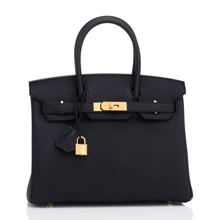 Women's Hermes Black 30cm Birkin Bag Togo Gold Hardware Chic  For Sale