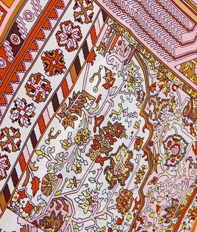 hermes tapis persans giant silk gm shawl scarf 140cm spring for sale at 1stdibs. Black Bedroom Furniture Sets. Home Design Ideas