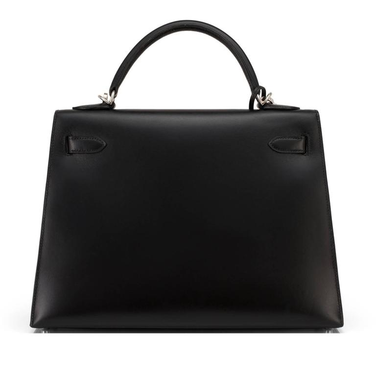 Women's or Men's Hermes Black Box Kelly 32cm Shoulder Bag Palladium Hardware