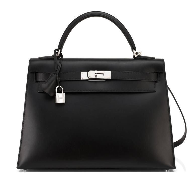 Hermes Black Box Kelly 32cm Shoulder Bag Palladium Hardware  In Good Condition In New York, NY