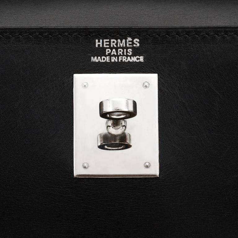 Hermes Black Box Kelly 32cm Shoulder Bag Palladium Hardware  4