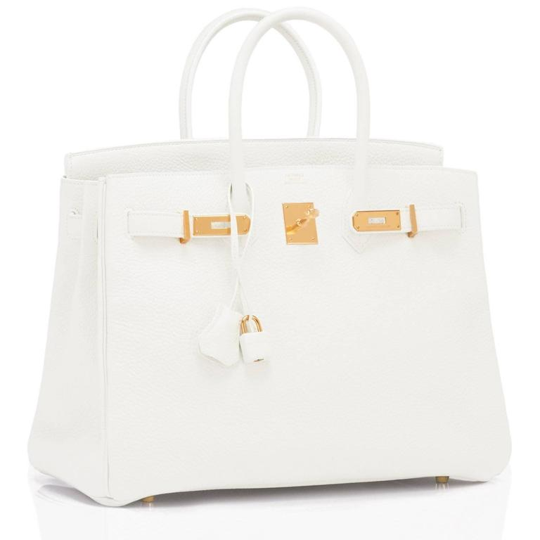 Hermes White 35cm Clemence Birkin Bag Gold Hardware X Stamp 2