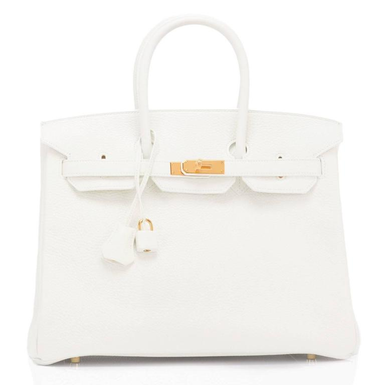 Hermes White 35cm Clemence Birkin Bag Gold Hardware X Stamp 4