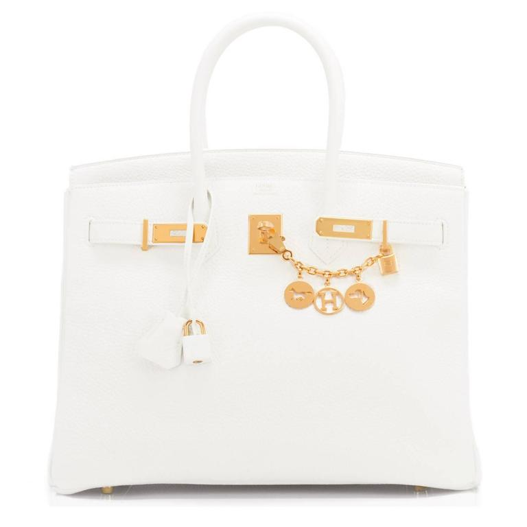 Hermes White 35cm Clemence Birkin Bag Gold Hardware X Stamp 3